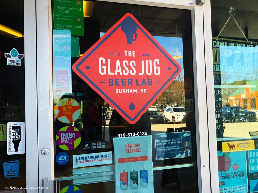 Door to The Glass Jug Beer Lab in Durham, North Carolina