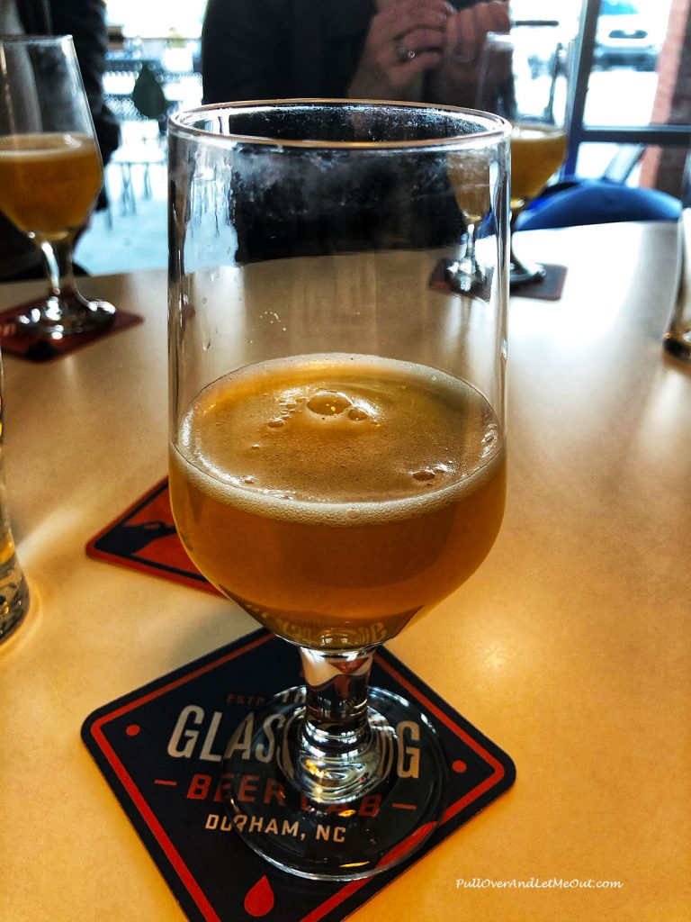 A glass of IPA beer at The Glass Jug Beer Lab
