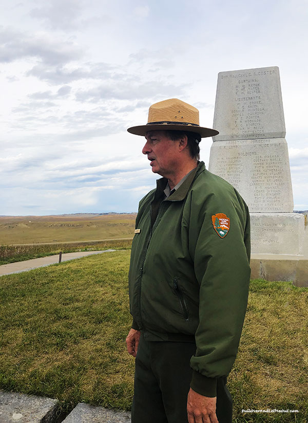 A park ranger at Little Bighorn National Monument
