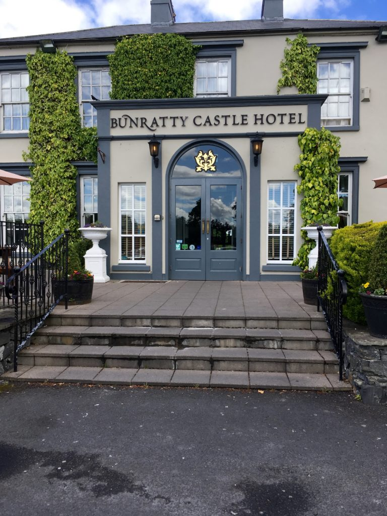 The front entrance of the Bunratty Castle Hotel in Ireland