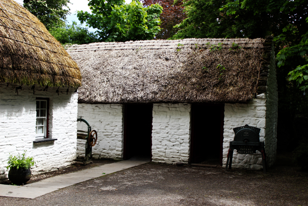 Irish thatched roof cottage at Bunratty Castle and Folk Park