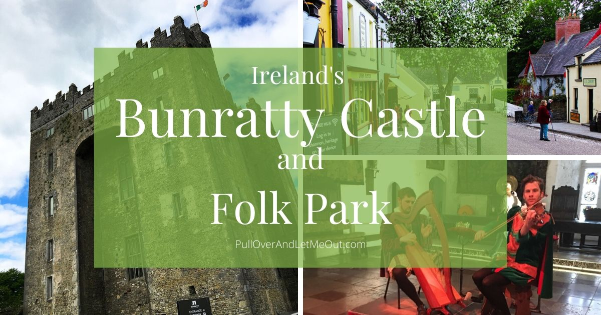 A collage of photographs of Bunratty Castle in Ireland