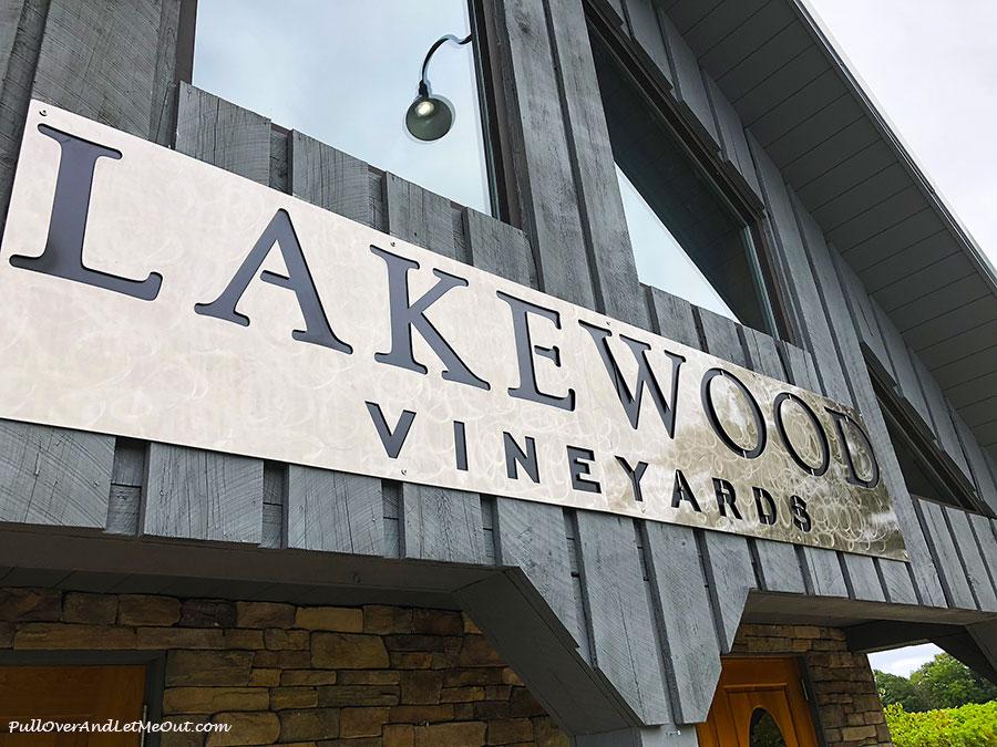 Lakewood Vineyards sign over door in Watkins Glen, NY