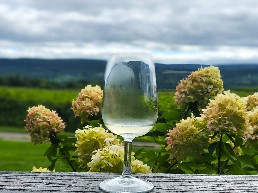 a glass of white wine in front of flowers and a scenic mountain backdrop