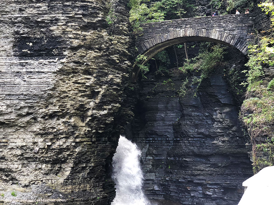 Waterfall and stone arch at Watkins Glen State Park in New York - PullOverAndLetMeOut