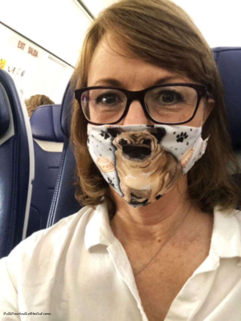 Woman on a plane wearing a mask with a picture of a pug on it.