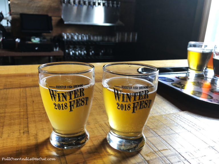 Two small glasses of beer for sampling at Rooster Fish Pub in Watkins Glen NY