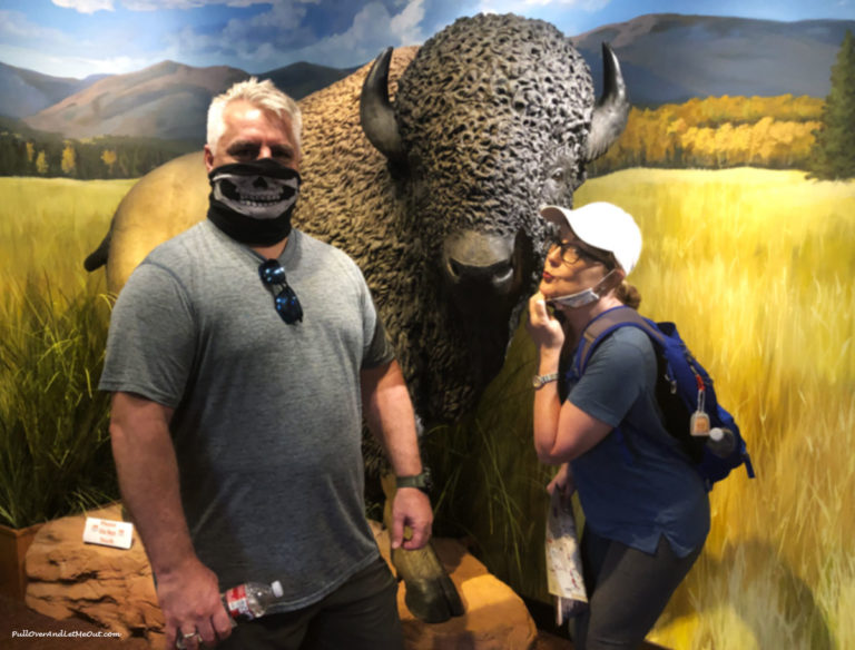 Couple wearing mask posing with a fake buffalo