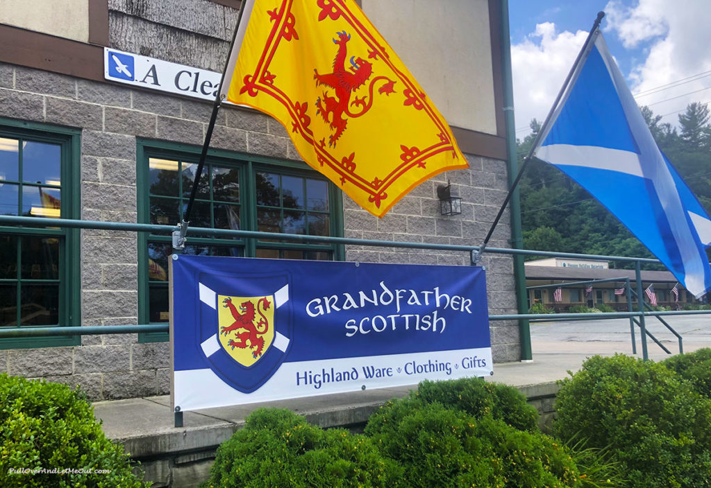 Grandfather Scottish entrance sign and flag