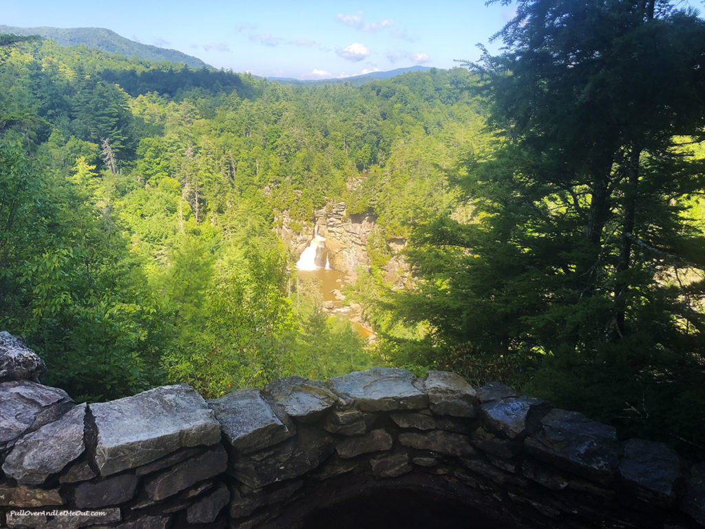 distant view of a waterfall at Linville Falls NC
