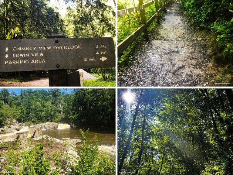 photo collage of four views of Linville Falls