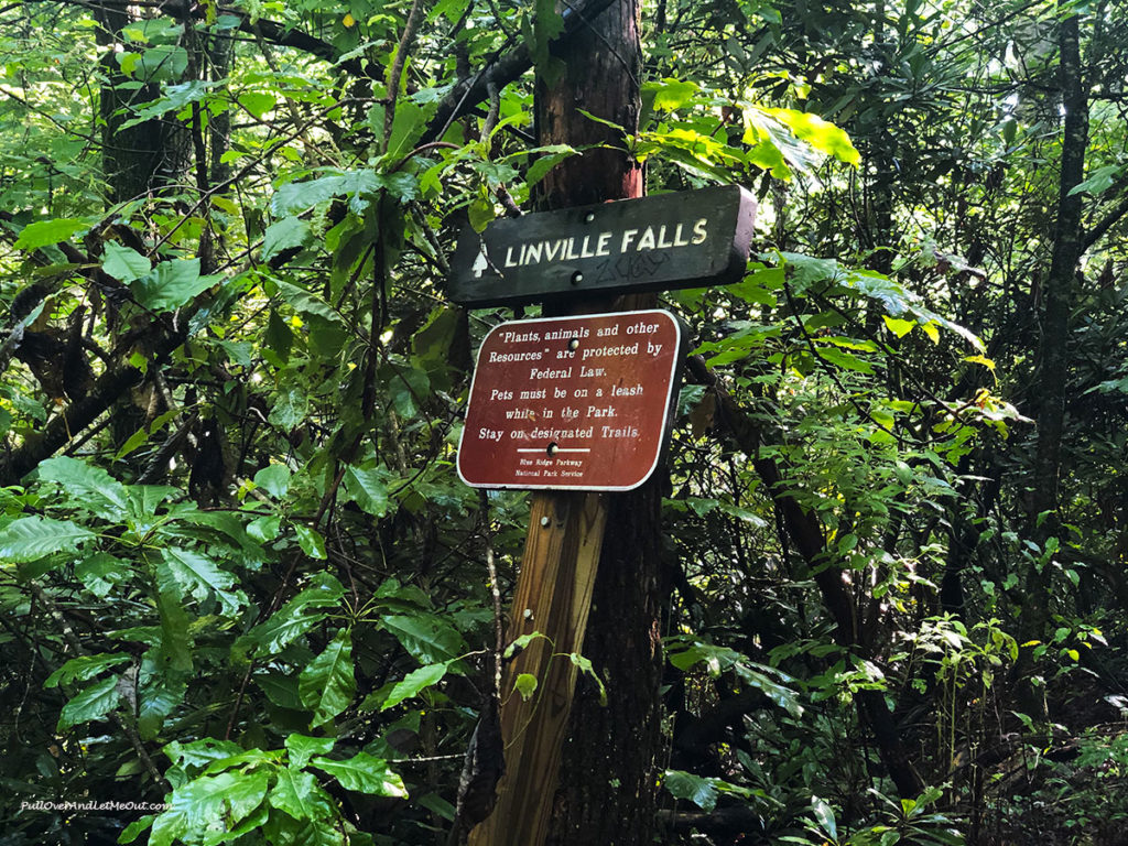 Wooden sign that says Linville Falls