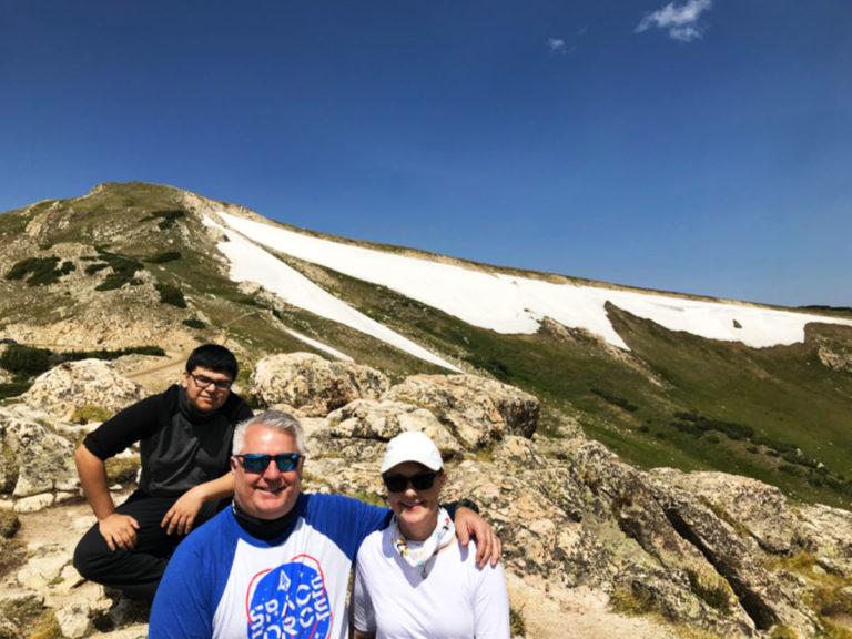 a family on a mountain