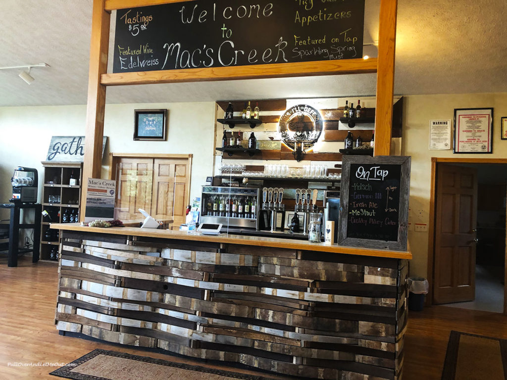 The wine bar at Mac's Creek in Lexington, Nebraska