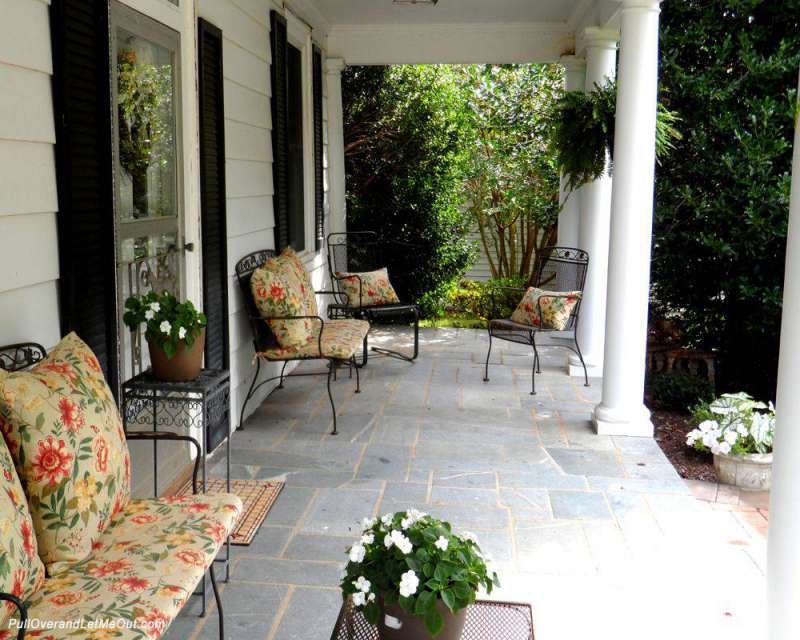 A beautiful front porch with columns