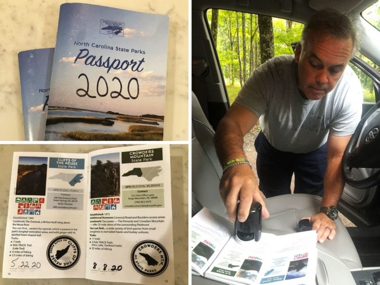 A collage of pictures of the NC state Parks passport and a man stamping his