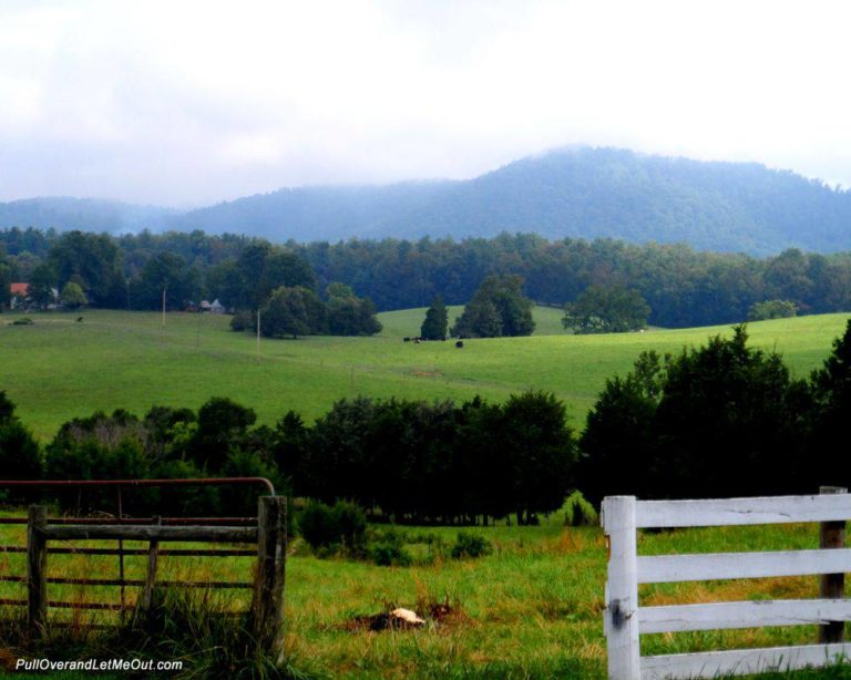 A view of the foothills of the Blue Ridge mountains misty