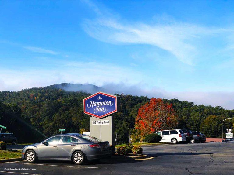 Hampton Inn sign outside hotel in Cherokee, NC PullOverAndLetMeOut