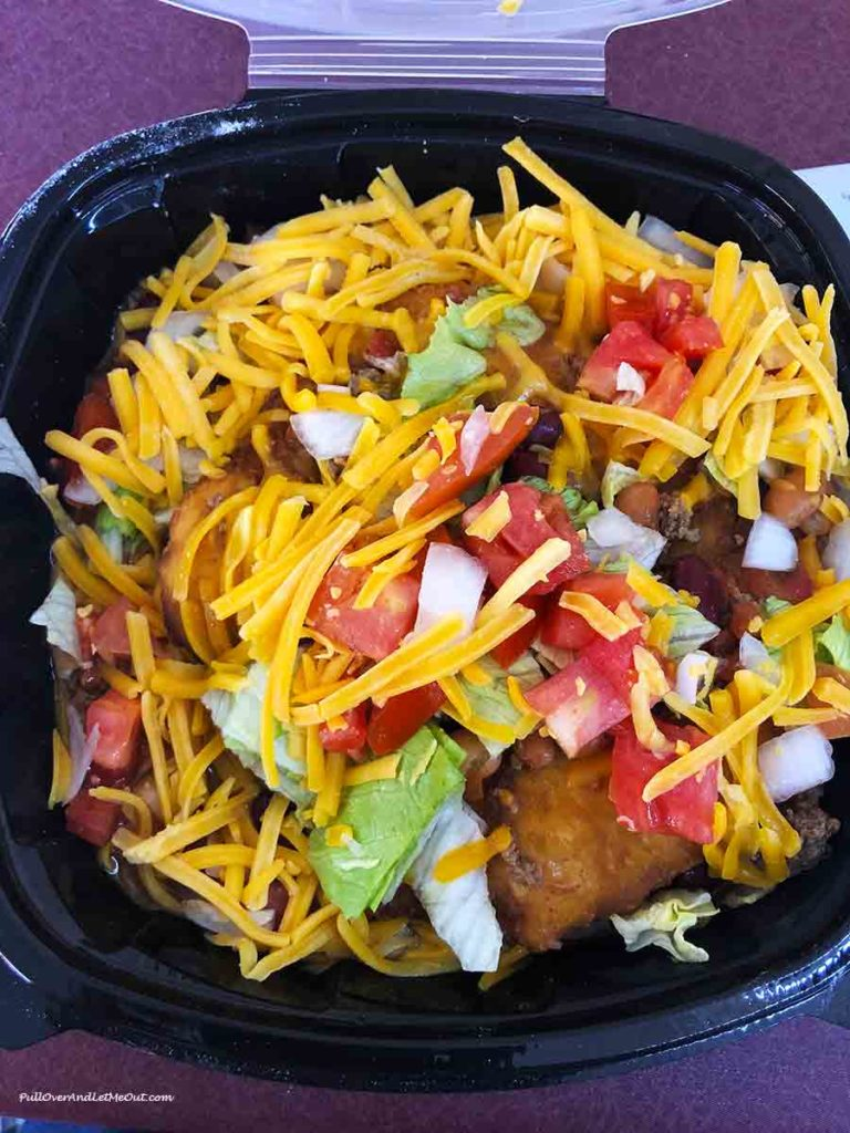 taco served on traditional Native American frybread