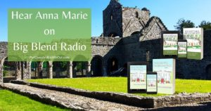 the ruins of Boyle Abbey in Boyle Ireland with books in front of it