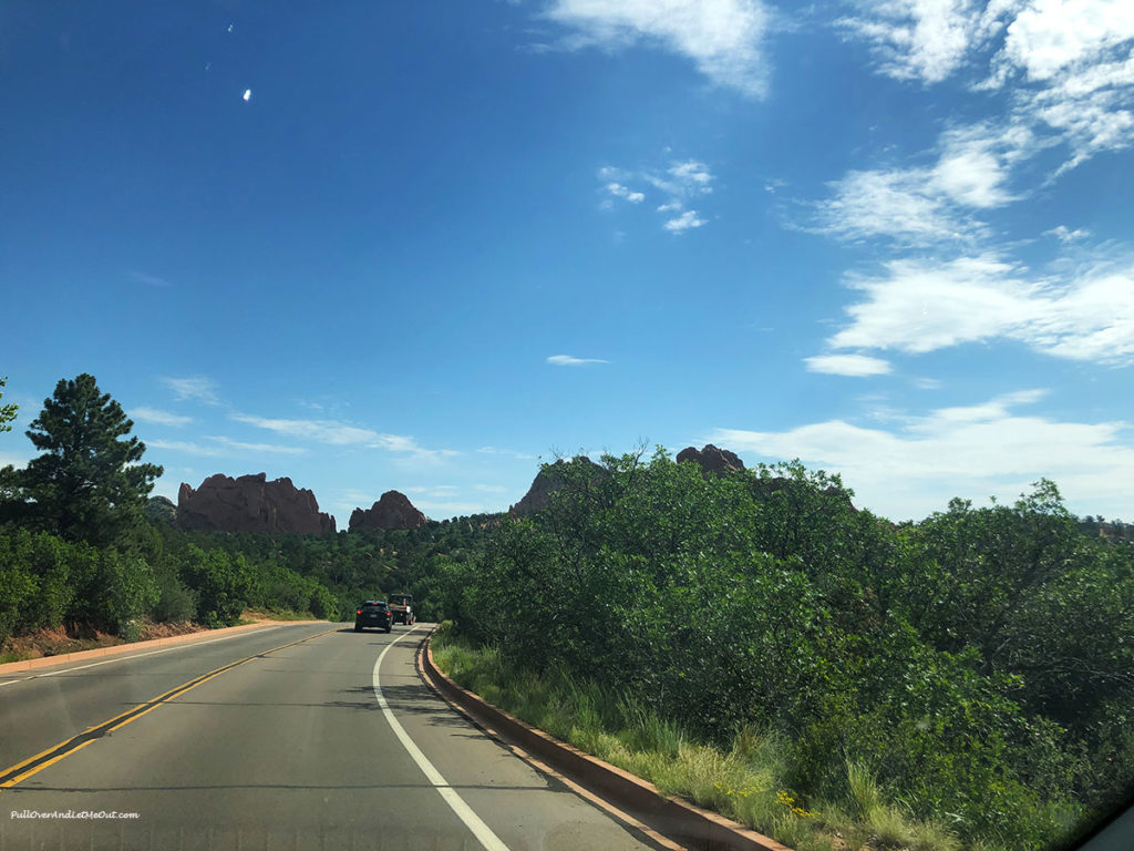 road view of trees at Garden of the Gods