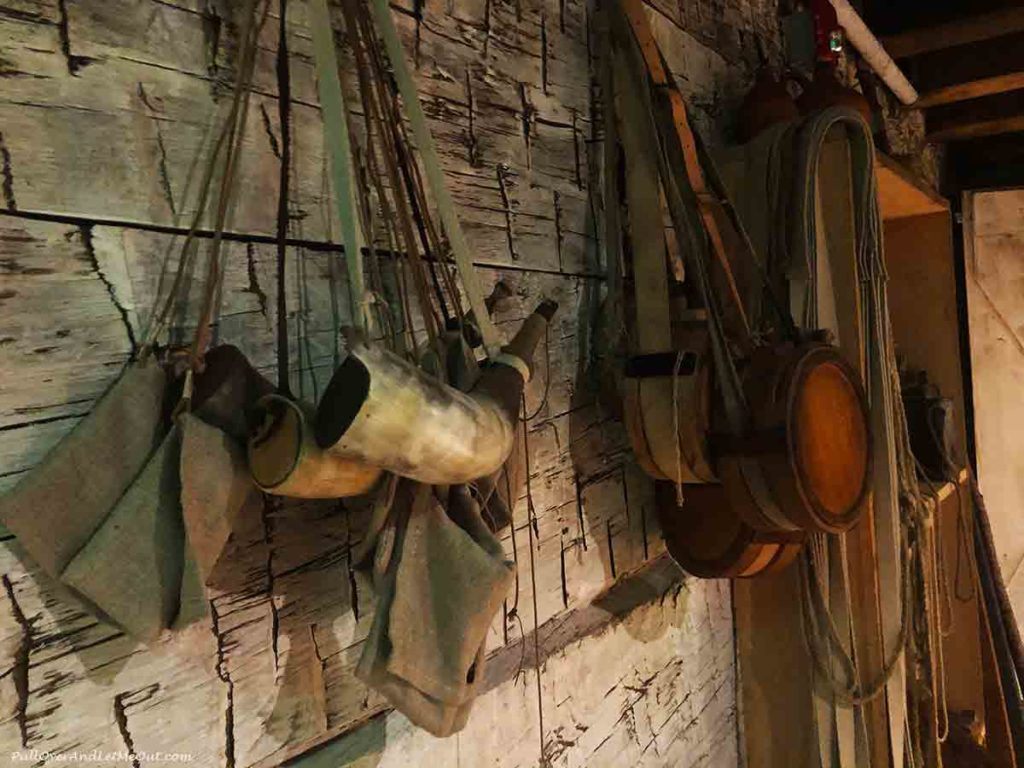powder horn hanging on a wall at Fort Dobbs State Historic Site in Statesville, NC PullOverAndLetMeOut