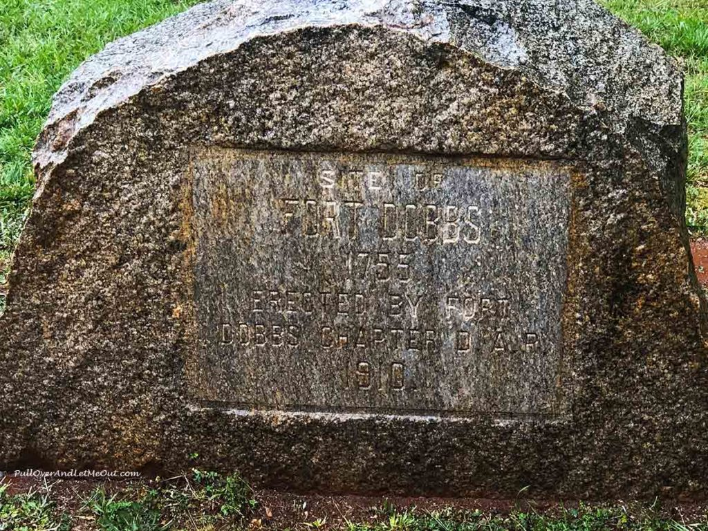 Historic stone marker at Fort Dobbs State Historic Site in Statesville, NC PullOverAndLetMeOut
