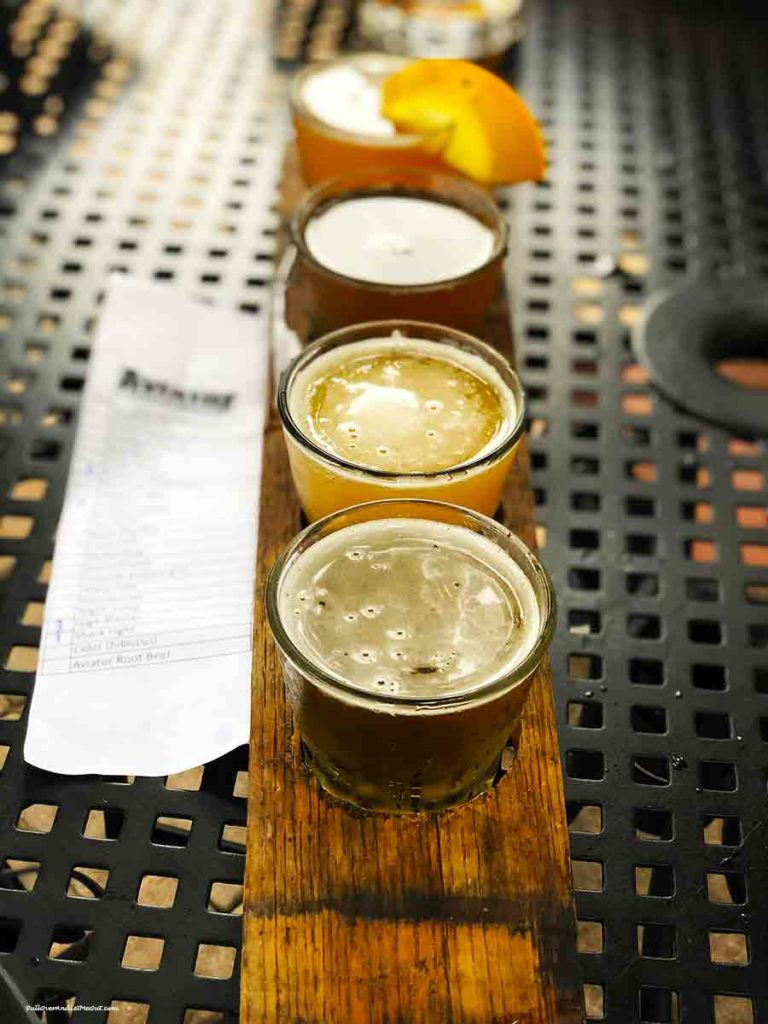 A flight of four beer samples at Aviator Brewing Co. Fuquay-Varina PullOverAndLetMeOut