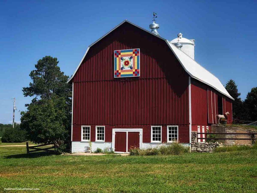 "Red barn with a ""quilt"" design over the door. Door County Wisconsin PullOverAndLetMeOut"