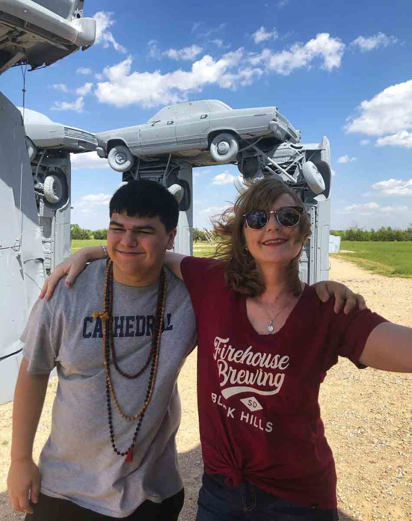 woman and son at Carhenge in Alliance, NE