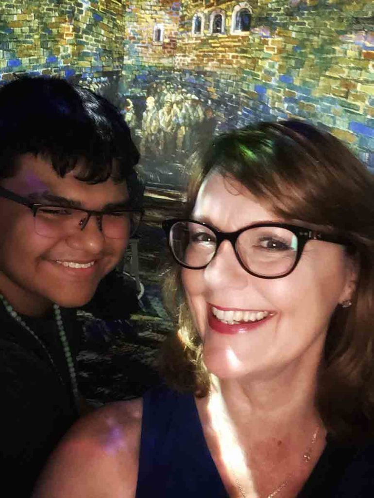 mother and son selfie at Immersive Van Gogh Charlotte