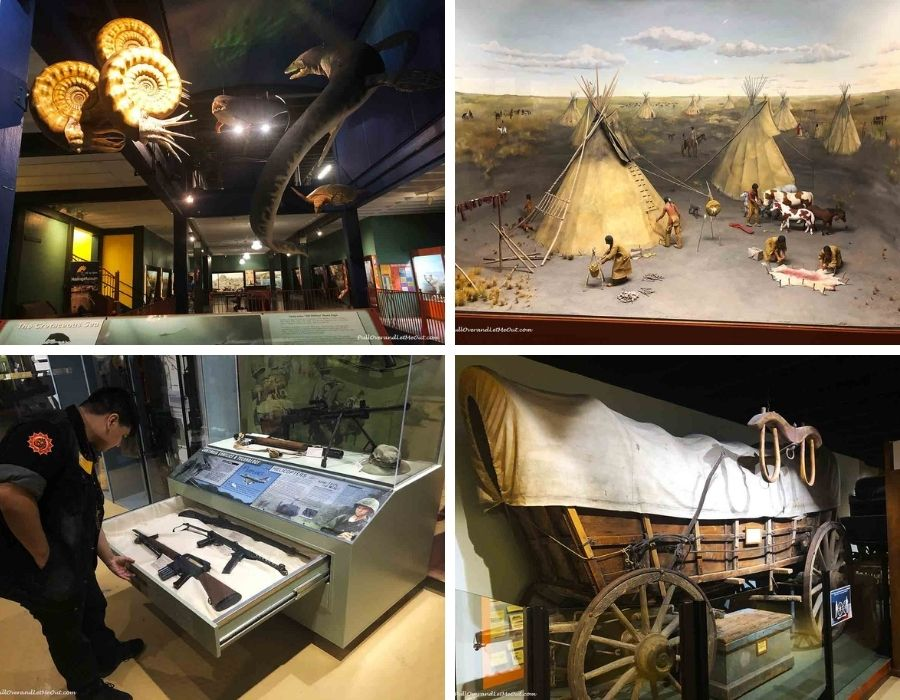 a collage of four pictures of the Hastings Museum in Nebraska