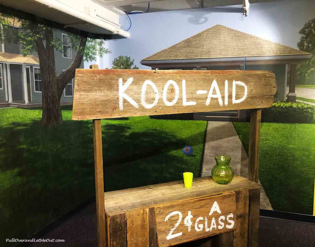 a wooden Kool-Aid stand