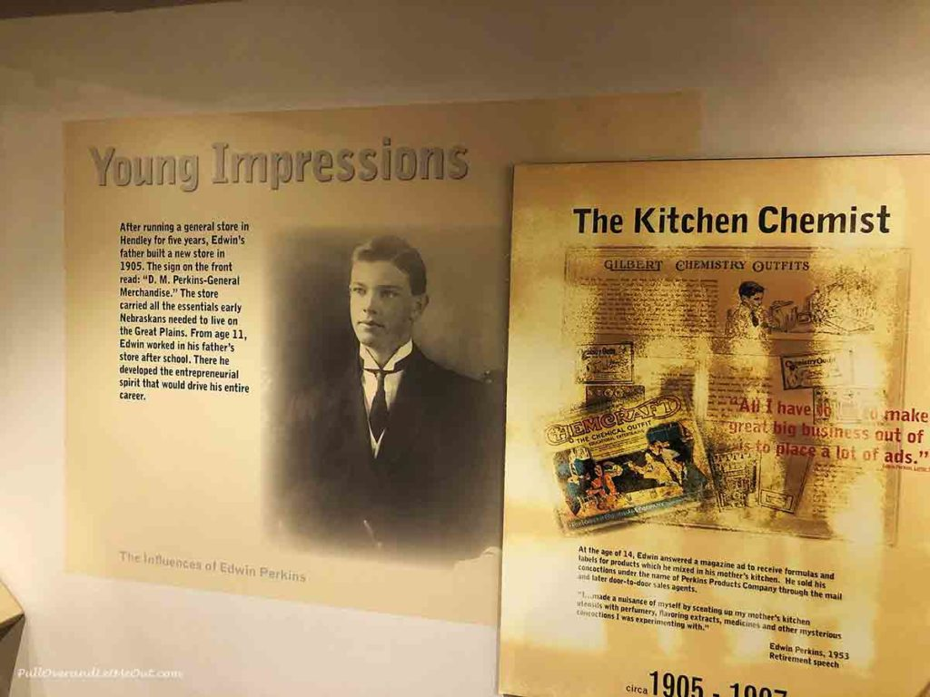 Edwin Perkins newspaper article on display in museum