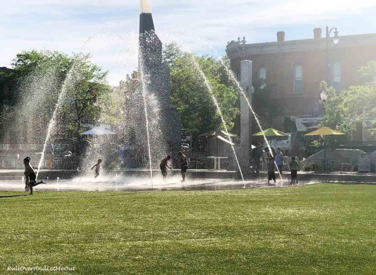 Kids playing in a splash fountain