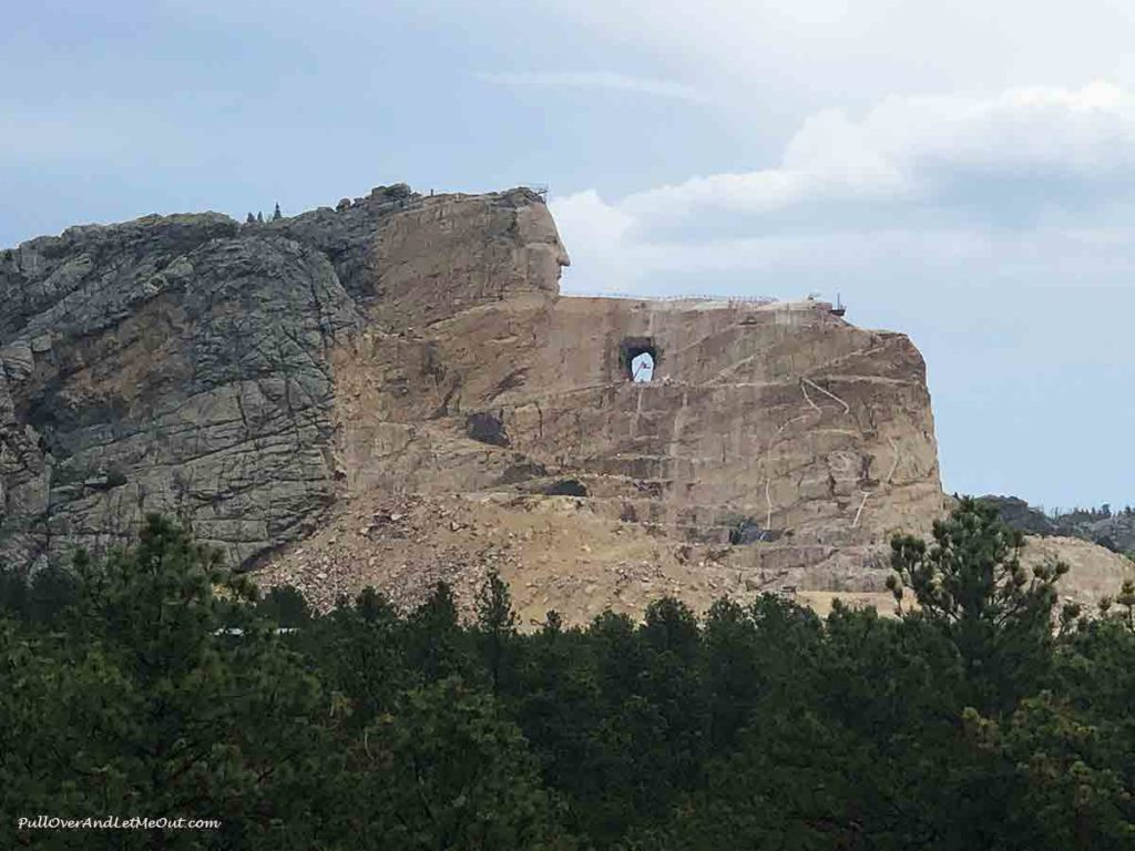 Profile picture of the sculpture of Crazy Horse at the Crazy Horse Memorial
