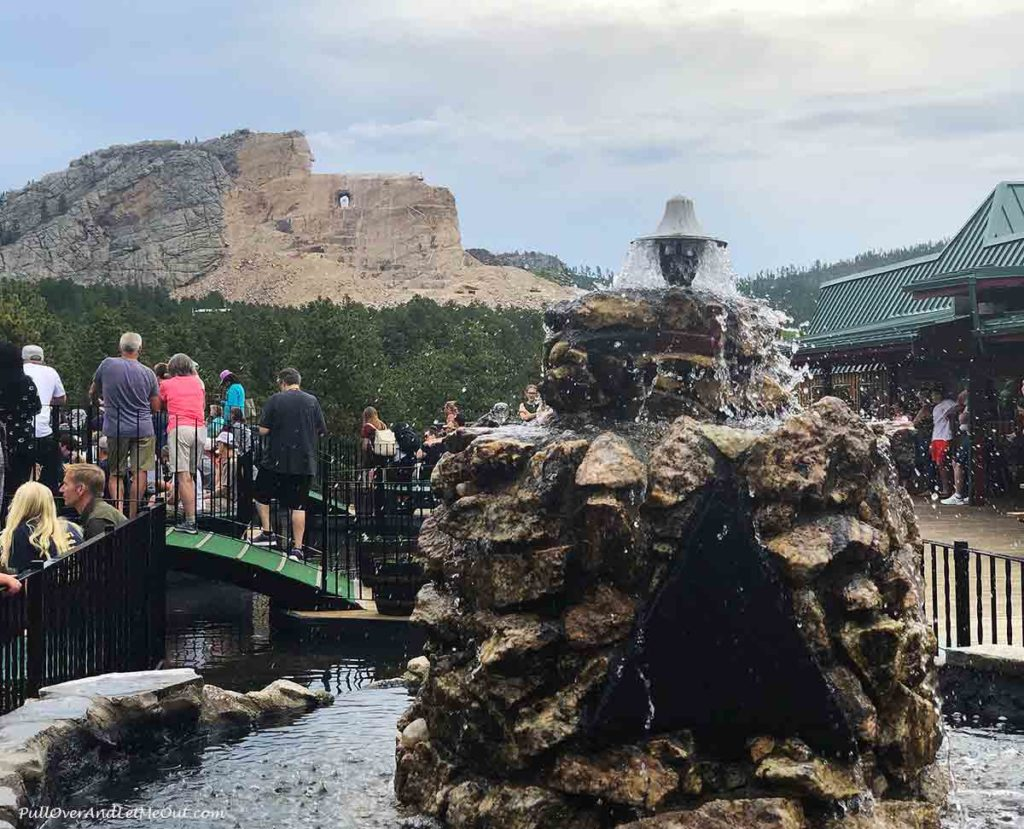 Fountain in front of Crazy Horse Memorial