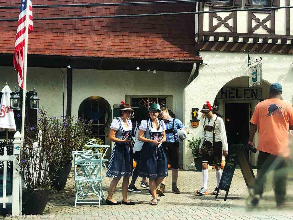 German dancers strolling the streets in Helen, GA