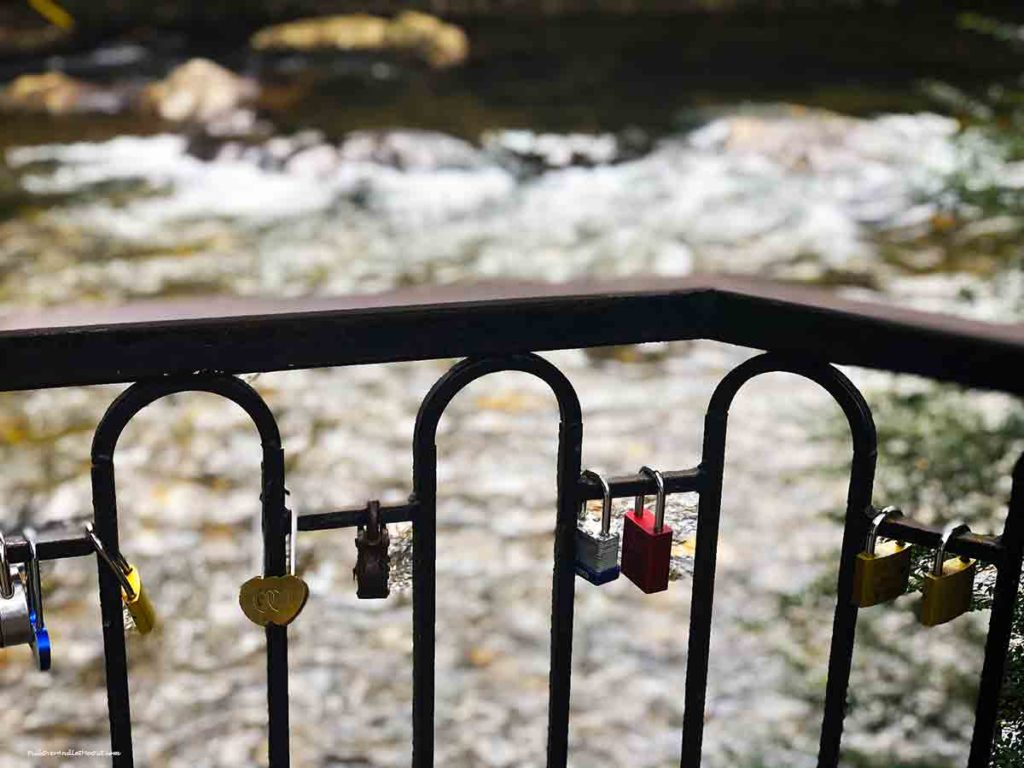 locks on the bridge over the Chattahoochee River in Helen, GA
