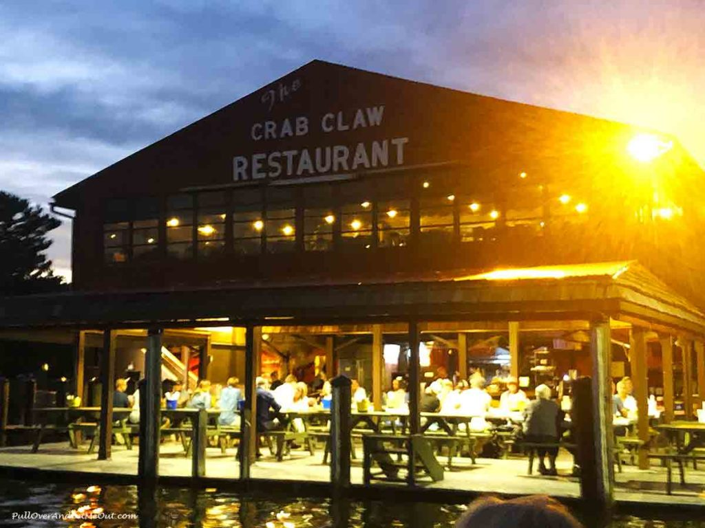 The Crab Claw restaurant at sunset
